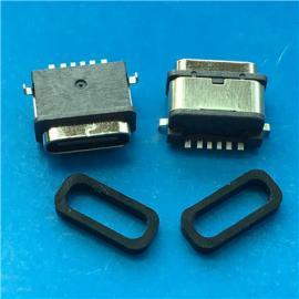 6P防水USB 3.1母座Type C沉板式防水IPX7 X8� �赡_SMT+�z圈
