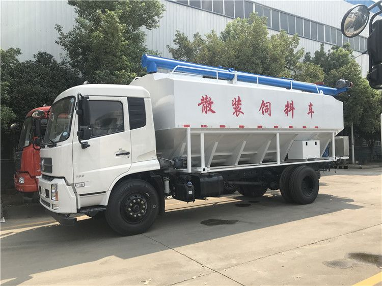 颗粒、粉料状猪饲料车 10吨东风天锦饲料运输车密封好、无污染