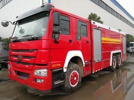 消防车豪沃8吨水罐泡沫消防车
