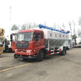 程力10吨自动卸料饲料车 液压绞龙散装饲料罐车多少钱