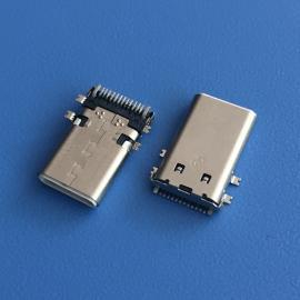 TYPE-C 3.1贴片公头12P/14P四脚SMT 带接地脚 C型USB公头板端