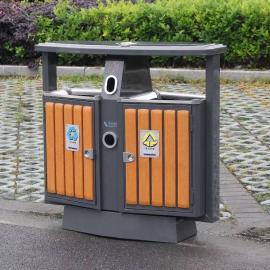 钢木果皮箱-钢木分类垃圾桶-街道景区垃圾桶分类