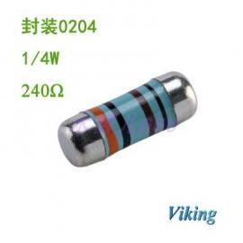 Viking光颉0204柱状晶圆贴片电阻240R精度1%现货