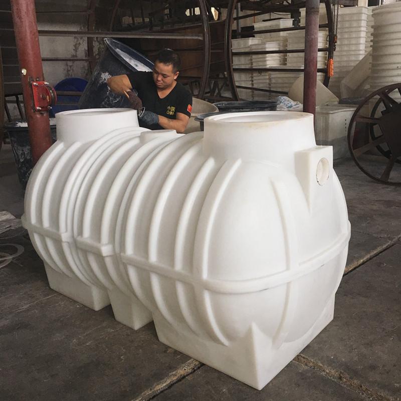 2立方一次成型化粪池三格化粪桶PE废水箱滚塑工艺