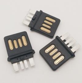 USB 2.0 公�^全塑 A公�p面插 不分正反插�^ �N片SMT �闻刨N板式