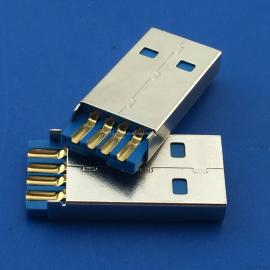 SJS USB 2.0 AM焊线式加长款 4pA公蓝色胶芯 带接地脚 铆合公头