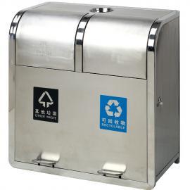 户外摇盖垃圾箱-两分类摇盖果壳箱-不锈钢摇盖垃圾桶ljt-61