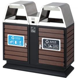 保洁分类垃圾桶-物业分类果皮箱-小区钢木垃圾箱制造商ljt-57