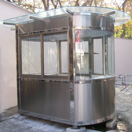 不锈钢保安岗亭钢结构安保岗亭铝塑板收费岗亭
