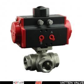 德国VATTEN法登-不锈钢内螺纹三通球阀,L型流向气动分流阀VT2DDN33A