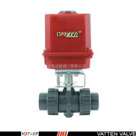 PVC阀门配轻巧型电动执行器,PVC三片式电动球阀VATTENVT2CEU73G