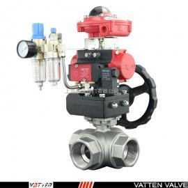 VATTEN 气动不锈钢三通丝扣球阀 VT2DDN33A