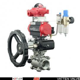 VATTEN 气动三片式螺纹球阀 不锈钢三通分流阀 VT2DDN33A