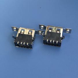CY USB 2.0 A母 带双耳螺丝孔 贴板SMT 弯角卷边 黑胶 CY-43FF