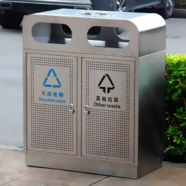尚绿匠品 不锈钢果皮箱公共场所户外垃圾分类不锈钢垃圾桶 SL-B03