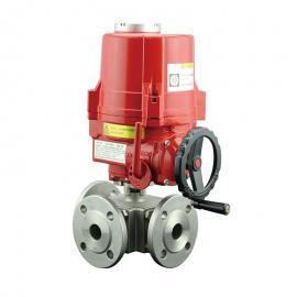 三通管道介质分流电动球阀,不锈钢三通电动调节阀法登VATTENVT2DEF33A