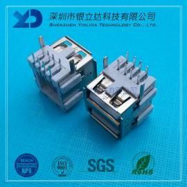 YLDCONN USB2.0接口 AF90度双层插件 13.5MM短体双层 USB200301