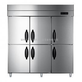 海尔(Haier) 商用立式 风冷冷藏冷冻柜 不锈钢六门双温雪柜 厨房冰箱 SL-1600C2D4WI