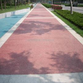 真石�� 透水混凝土路面 商�I步行街透水彩色地坪
