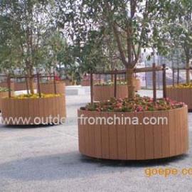 圆形花箱,朴实花箱,公园花槽