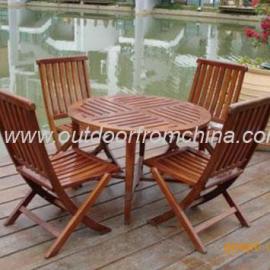 环保木桌椅,琥珀色桌椅,园林桌椅