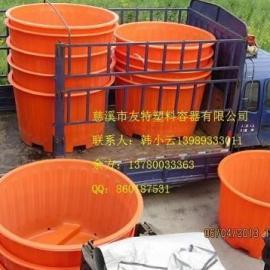 新款PE材质2吨叉车圆桶,印染布料储存桶,底部带叉车圆桶