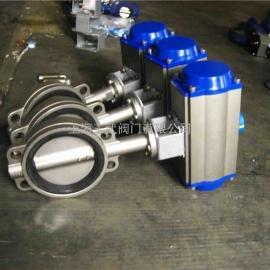 不锈钢气动蝶阀D671X-16P  气动对夹蝶阀