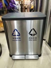 办公场所脚踩垃圾桶不锈钢分类桶
