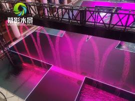 幕影水景数字水幕租赁,乔丹体育品牌秀场数字水幕背景墙装饰
