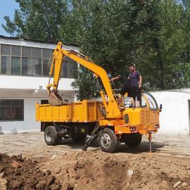 直接四不像随车挖掘机 改装轮式四驱随车挖 河道专用随车挖机