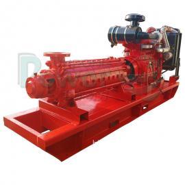 君�|高�旱V用柴油水泵400米�P程康明斯柴油�C水泵多��x心泵�C�MJMD280-43*8