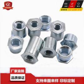 通孔压铆螺柱M4-5 M4六角压铆螺柱6.0底孔
