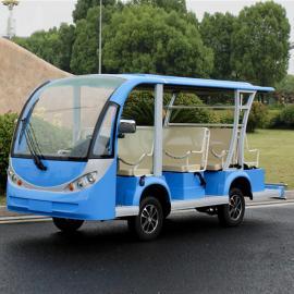 8座电动观光车,蓝色景区载客车
