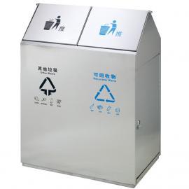 绿华园林景区户外不锈钢双联桶垃圾桶不锈钢内外胆果皮箱LH-LJT