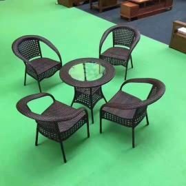 铸铝藤编桌椅加工厂 景点藤编休闲桌椅组合