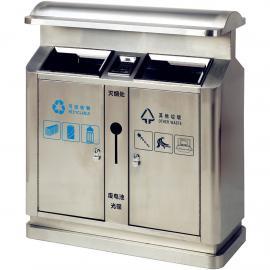 公共区域不锈钢弧形垃圾桶双桶分类果皮箱