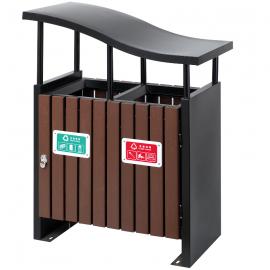 社区木条垃圾桶 户外木质分类垃圾桶货源