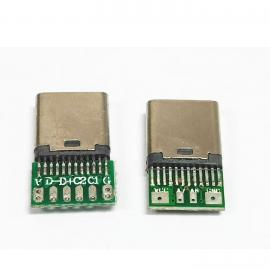 ggfTYPE-C冲压壳公座 24P夹板 带板电阻 无缝公头