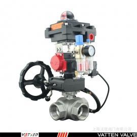 不锈钢气动换向丝口球阀,防爆型带手轮气动阀VT2DDN33A德国VATTEN