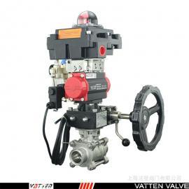 SS304螺纹是三通气动防爆型天然气丝口球阀VT2DDN33A德国VATTEN