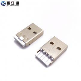 BJTUSB双面插公头/焊线式/白胶/镀金USB2.0