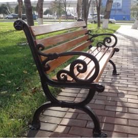 绿华小区铸铝塑木休闲长凳子加工厂宝应户外休闲椅制造工厂lh-yz