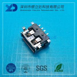 YLDCONN USBlian接器 AF全贴10.0 四脚贴板SMT 卷边H=6.8mm USB200102