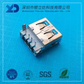 YLDCONN USB插件 Amu沉板式90度 PBTbai胶铁壳 USB200201