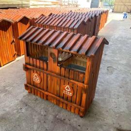 绿华lvhua景区塑木垃圾桶生产定制 户外分类木塑果壳箱制造企业lh-01