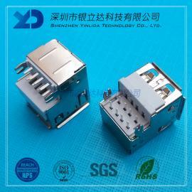 YLDCONN USB双层插座 AF双层沉板90度 半沉式10.5mm USB200302