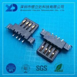 YLDCONN USB插座 AF沉板180度单胶芯 带定位柱 可带鱼叉脚 USB200901
