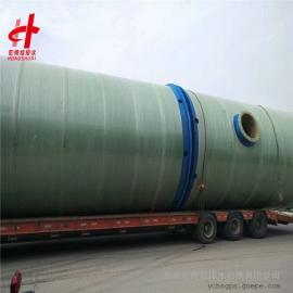 标准卧式污水泵站 玻璃钢一体化污水提升泵站3米*9.8米宏帅给排水
