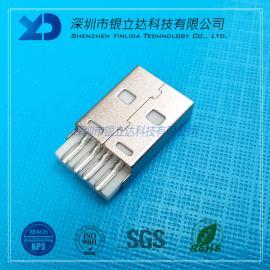 YLDCONNUSB2.0 AM 焊线式公头 A公焊线短体 铁壳镀镍USB202002