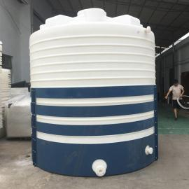华社10吨防冻剂储罐耐酸碱塑料水箱平底水箱滚塑一次成型10T